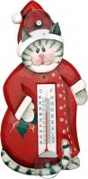 Songbird Essentials Holiday Cat in Pajamas Small Window Thermometer