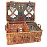 Picnic & Beyond Riviera Collection - (B) 4 Person Willow Picnic Basket