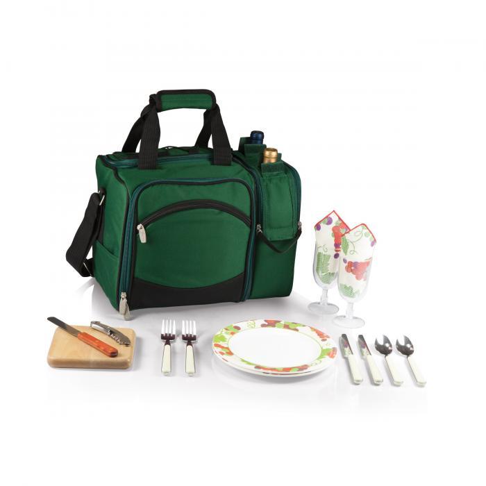 Picnic Time Malibu Shoulder Pack w/ Deluxe Picnic Service for 2, Hunter Green