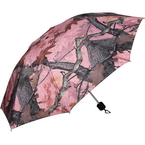 "River's Edge 42"" Compact Folding Pink Camo Umbrella"