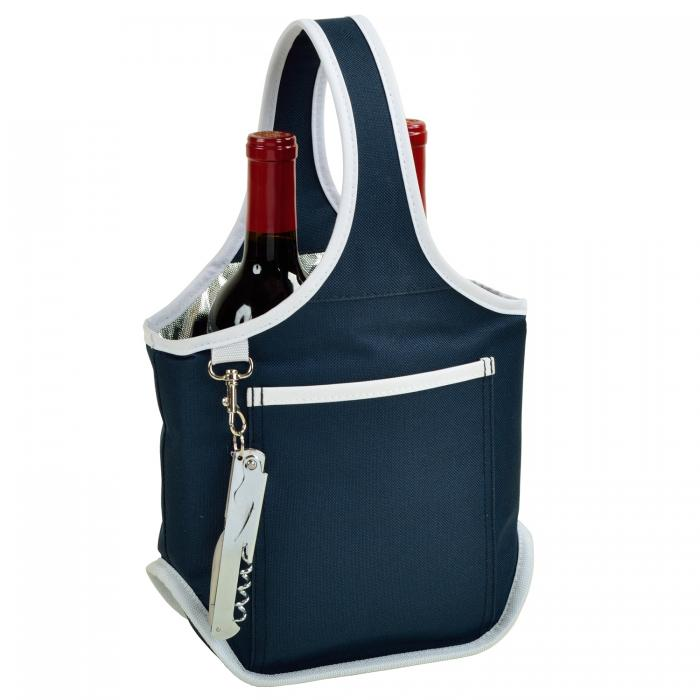 Picnic at Ascot Stylish 2 Bottle Wine Tote with Corkscrew - Navy