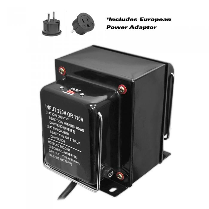 Pyle Step Up and Step Down 2000 Watt Voltage Converter Transformer with USB Charging Port - AC 110/220V (PVTC2020U)