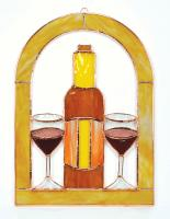 Gift Essentials Large Wine Glasses and Bottle Cathedral Window Panel