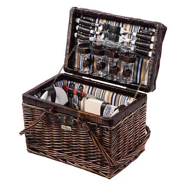 Picnic and Beyond Willow Picnic Basket for 4, Brown