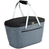 Picnic at Ascot Stylish Insulated Market Basket / Picnic Tote with Sewn in Aluminum Frame - Houndstooth