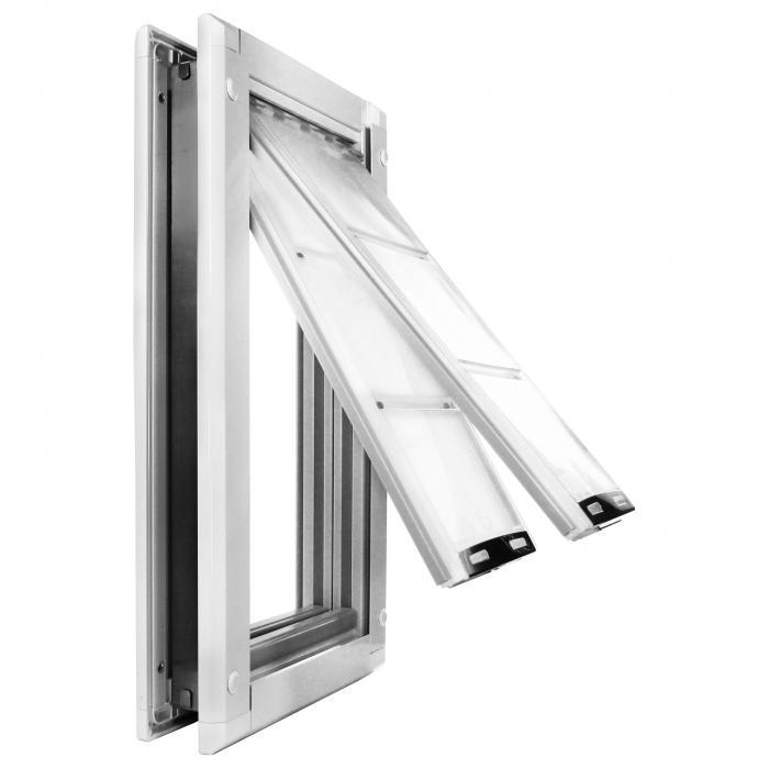 """Endura Flap Pet Door, Door Mount, Medium Double flap - 8""""w x 14""""h, White frame"""