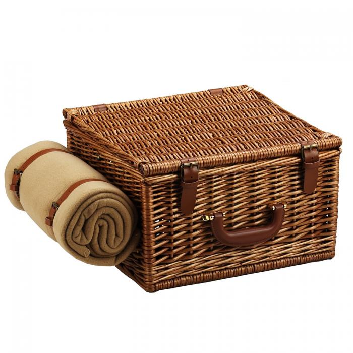Picnic at Ascot Cheshire English-Style Willow Picnic Basket with Service for 2,  Coffee Set and Blanket - London Plaid