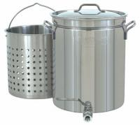 Bayou Classic 10-Gallon Stainless Stockpot with Spigot & Basket