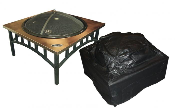 Fire Sense Outdoor Square Fire Pit Vinyl Cover w/Felt Lining & Fabric Ties
