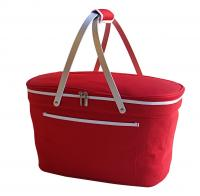 Picnic at Ascot Stylish Insulated Market Basket / Picnic Tote with Sewn in Aluminum Frame - Red