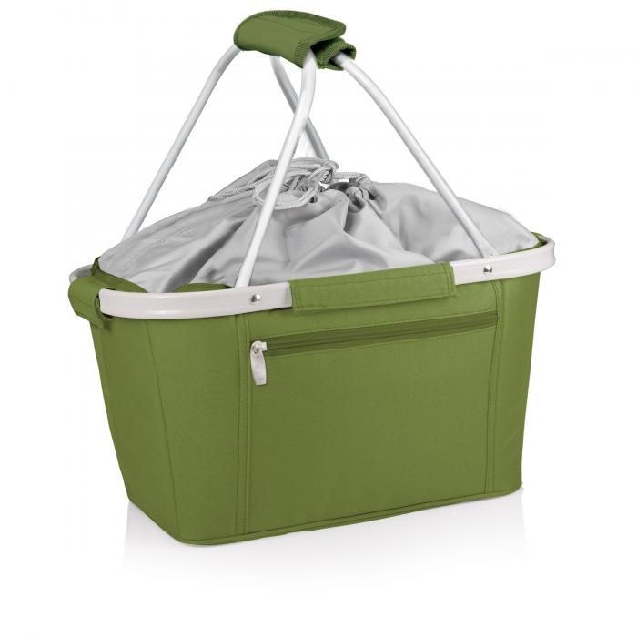 Picnic Time Metro Waterproof Polyester Canvas Empty Picnic Basket, Olive