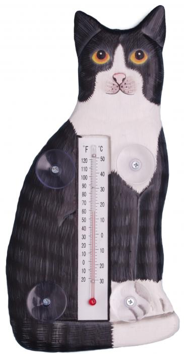 Songbird Essentials Sitting Black & White Cat Small Window Thermometer