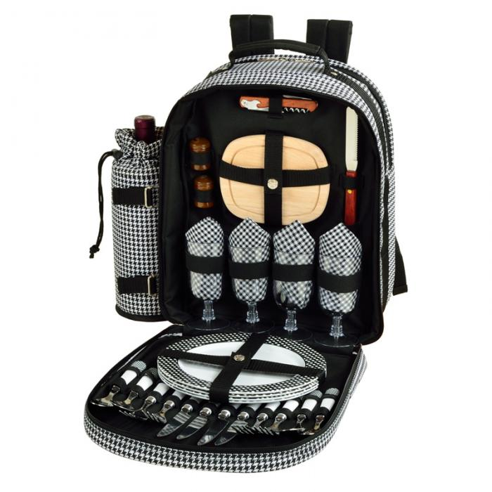 Picnic at Ascot - Deluxe Equipped 4 Person Picnic Backpack with Cooler & Insulated Wine Holder - Houndstooth