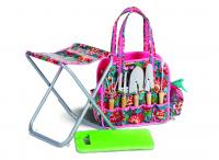 Picnic Plus 6 Piece Deluxe Garden Tote with Stool,Kneeling Pad and Tools, Madeline Turquoise