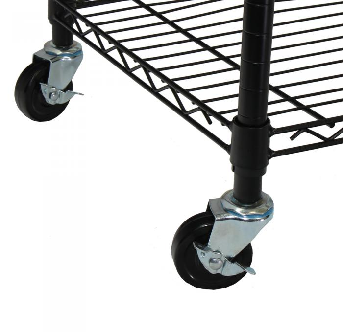 Oceanstar Garment Rack with Adjustable Shelves with Hooks, Black