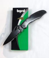 Byrd Knives Cara Cara2 Black Stainless Steel  Black Blade Combination Edge Pocket Knife