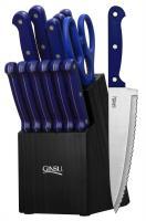 Ginsu Essential Series 14 Piece Cutlery Set w/ Black Block and Blue Handles