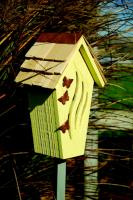 Heartwood Butterfly Bijou Butterfly House, Yellow with Shingled Roof