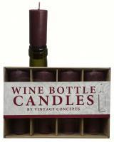 Vintage Concepts Set of 4 Bottle Candles, Burgundy