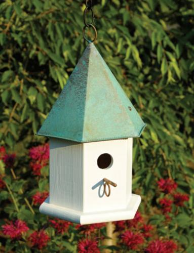Heartwood Copper Songbird Birdhouse, Verdi Roof