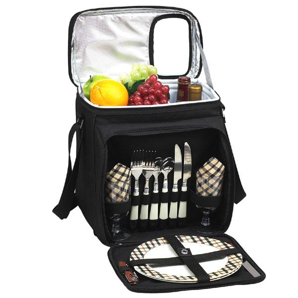 Picnic at Ascot Insulated Picnic Basket/Cooler Fully Equipped with Service for 2 - London Plaid