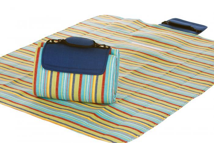 """Mega Mat Folded Picnic Blanket with Shoulder Strap - 48"""" x 60"""" (Blue Berry Stripe)"""
