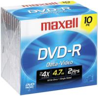 Maxell 635040/635045/638004 4.7 GB DVD-R, 10-Pack