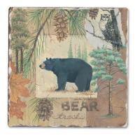 Counter Art Bear Tracks Single Tumbled Tile Coaster