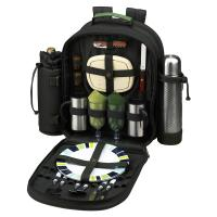 Picnic at Ascot Deluxe Equipped 2 Person Picnic Backpack & Coffee Service, Cooler & Insulated Wine Holder - Forest Green