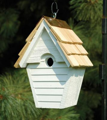 Heartwood Wren-In-The-Wind Birdhouse, Whitewashed