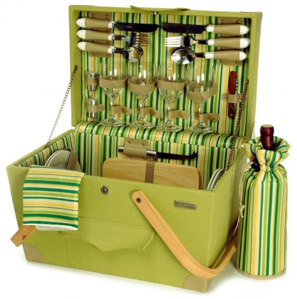 Picnic & Beyond Springtime Elite Luxury Wooden Picnic Chest w/Service for Four