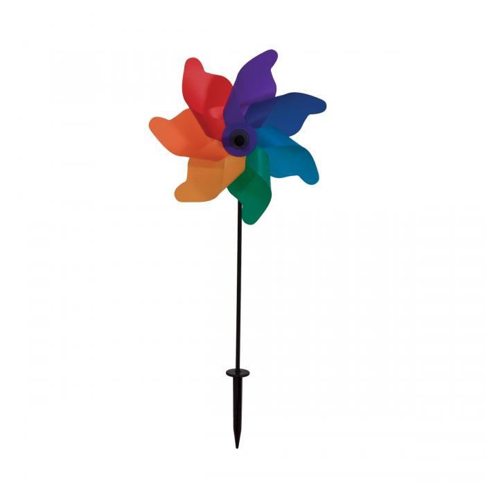 "In The Breeze 12"" Rainbow Poly Petal Pinwheel Spinner"