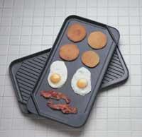 Chef's Design Reversilbe Hard-Coat Anodized Double Burner Griddle