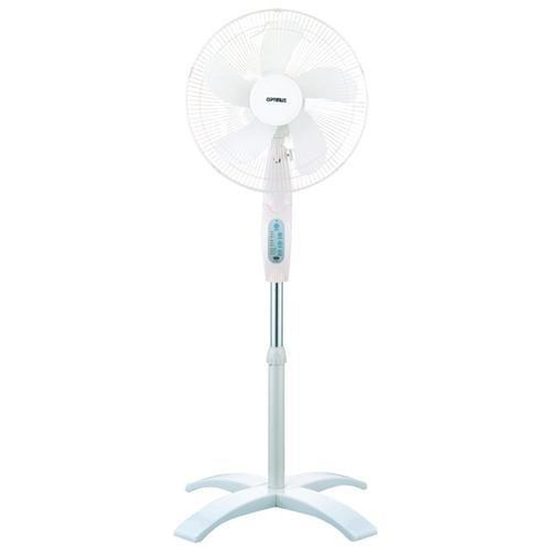 Optimus 16 Inch White Oscillating Stand Fan with Remote