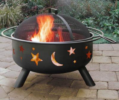 Landmann Big Sky Steel Black Fire Pit With Stars Moons 23 5 Diameter Bowl