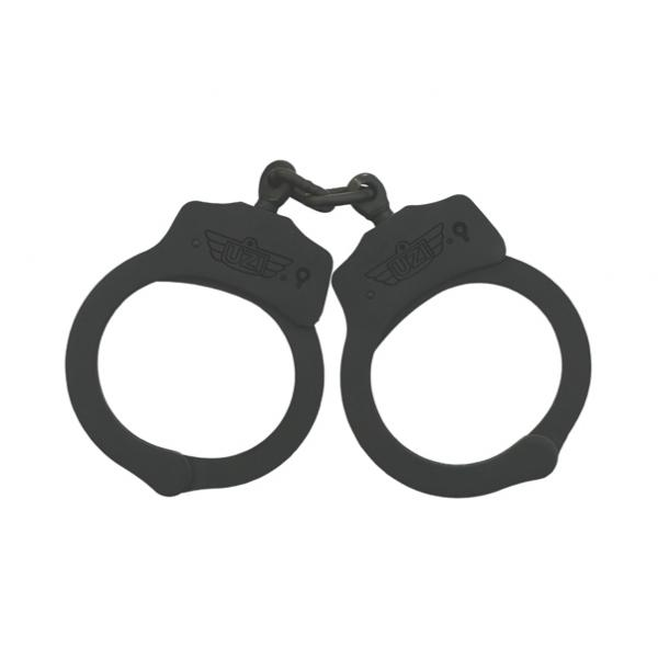 Uzi Black Nickel Steel Chain Handcuffs