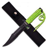 Z-Hunter 11.5in Fixed Blade Knife W/ Green Cord Wrap Handle