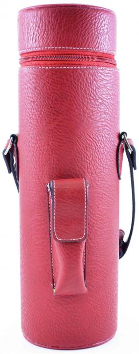 Primeware Enclave Faux Leather Single Bottle Wine Carrier - Red