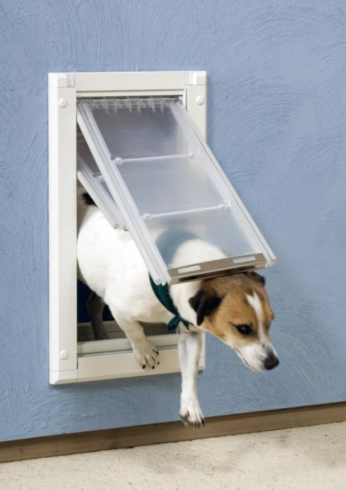 "Endura Flap Pet Door, Wall Mount, Medium Double flap - 8""w  x 14""h, White Frame"
