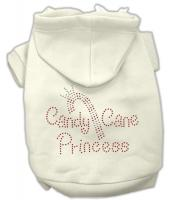 Candy Cane Princess Dog Hoodie Cream/Small