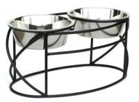 PetsStop White Oval Cross Double Raised Feeder - Large