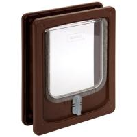 Pet- Rek Cat Door with Tunnel - Brown