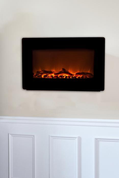 Fire Sense Black Wall Mounted Electric Fireplace, 1350 Watt Heater & Remote Control