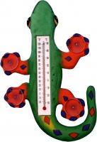 Songbird Essentials Climbing Green & Orange Gecko Small Window Thermometer