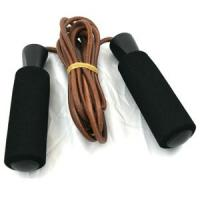 Sunny Health and Fitness Leather Jump Rope with Foam Handles
