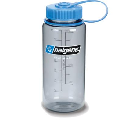 Nalgene Tritan Wide Mouth Bottle, 1 Pt. Gray with Blue Lid