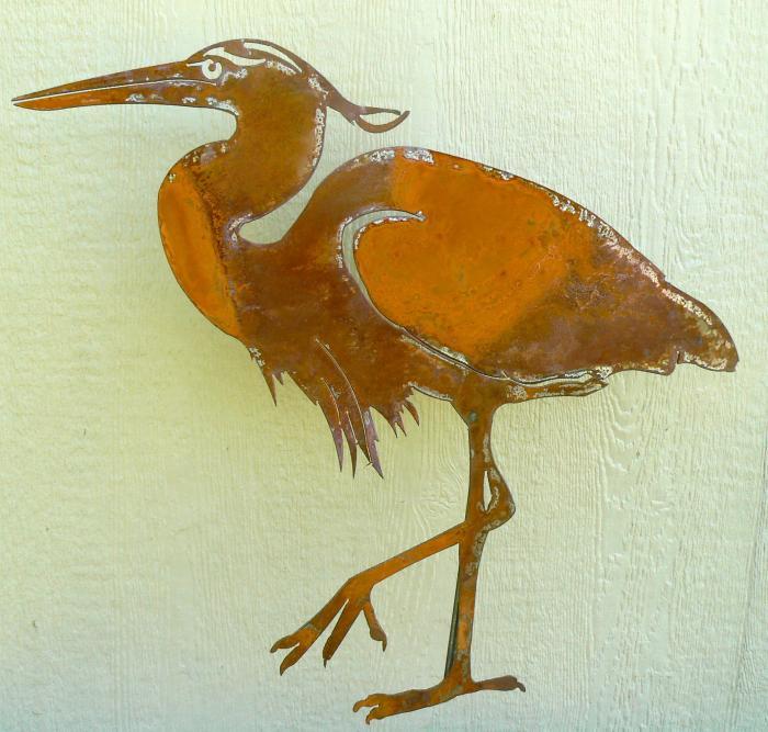 Elegant Garden Design Great Blue Heron Small Bird Silhouette
