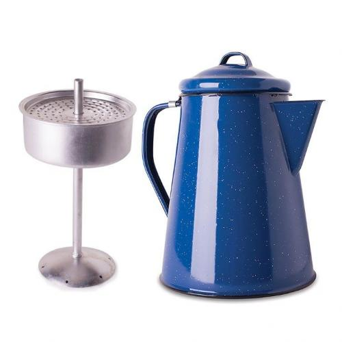 Stansport Enamel Coffee Pot 8 Cup Percolator With Basket