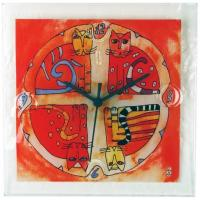 Square Glass Wall Clock with Colorful Cat Design