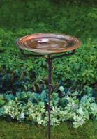 Ancient Graffiti Solid Copper Birdbath w/Iron